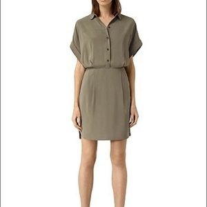 Allsaints Mario shirt dress army green in size 2